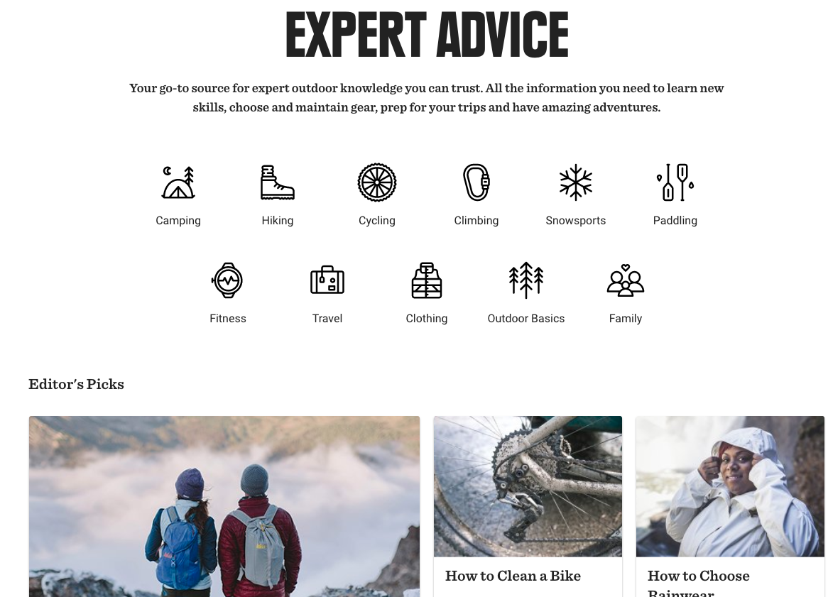 Screenshot showing a page on Expert Advice