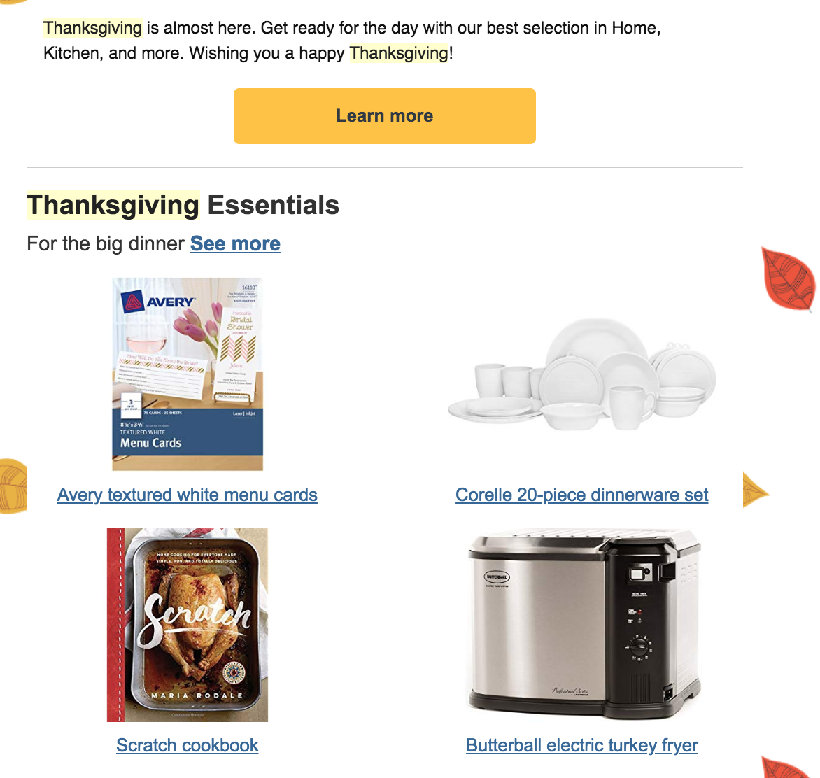 Screenshot showing thanksgiving email sent by amazon
