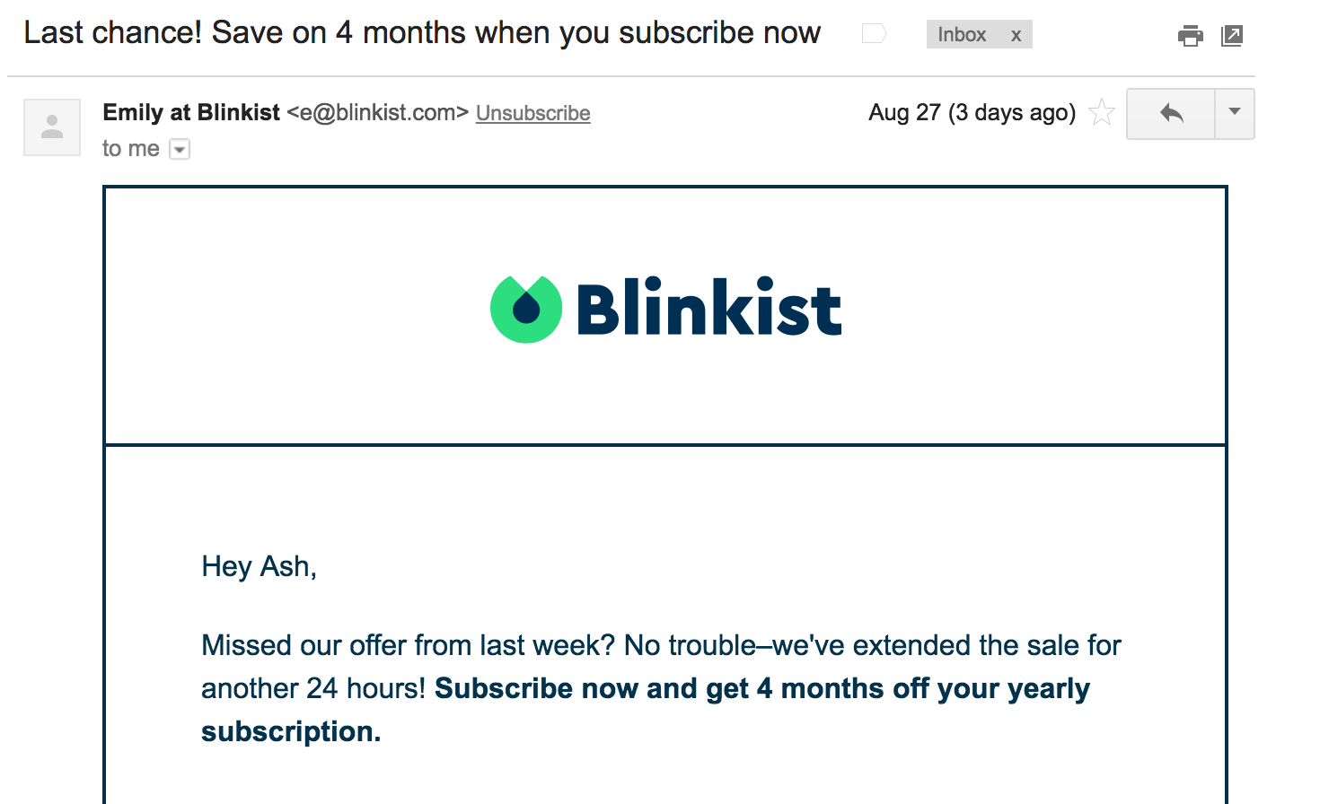 Blinkist Email Subject Example