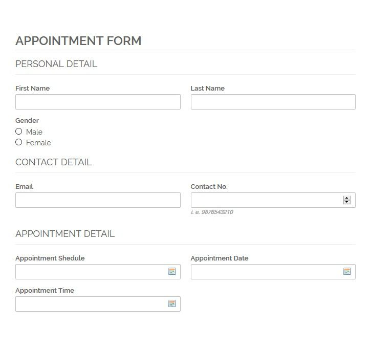 Screenshot showing an appointment form