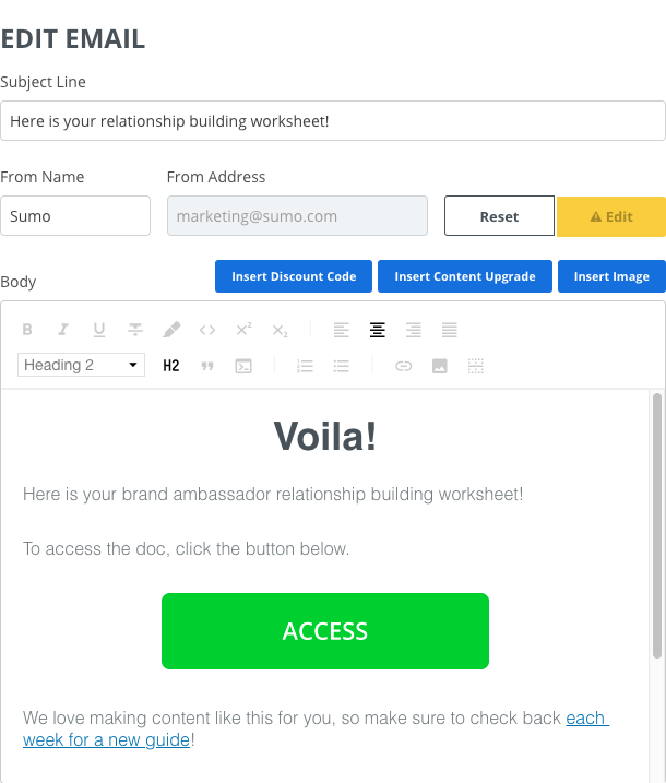 Screenshot showing new email page on the Sumo dashboard