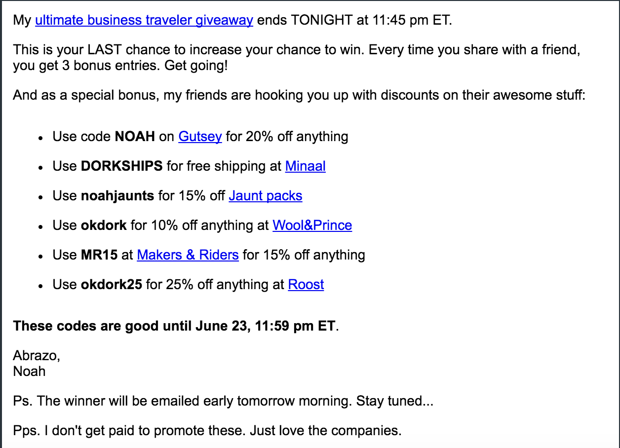 Screenshot of an email