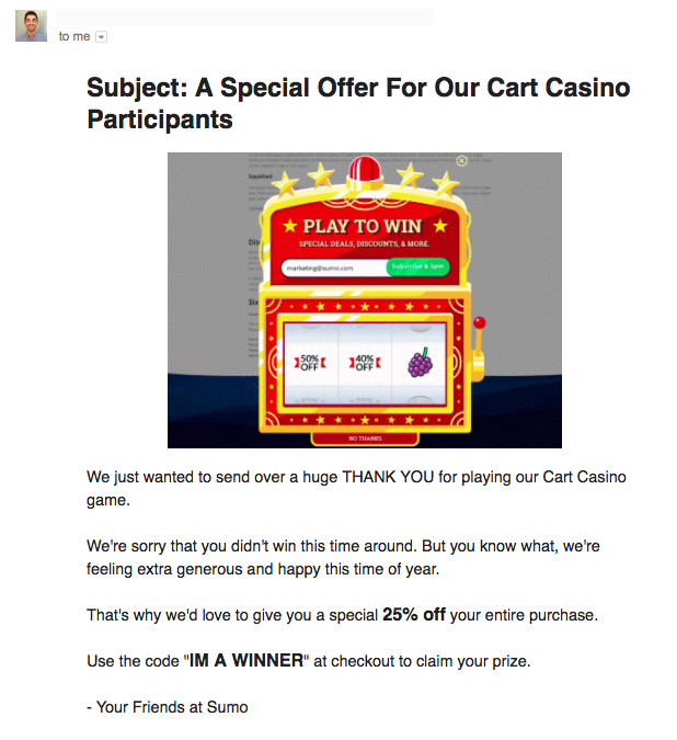 Screenshot showing an email about cart casino