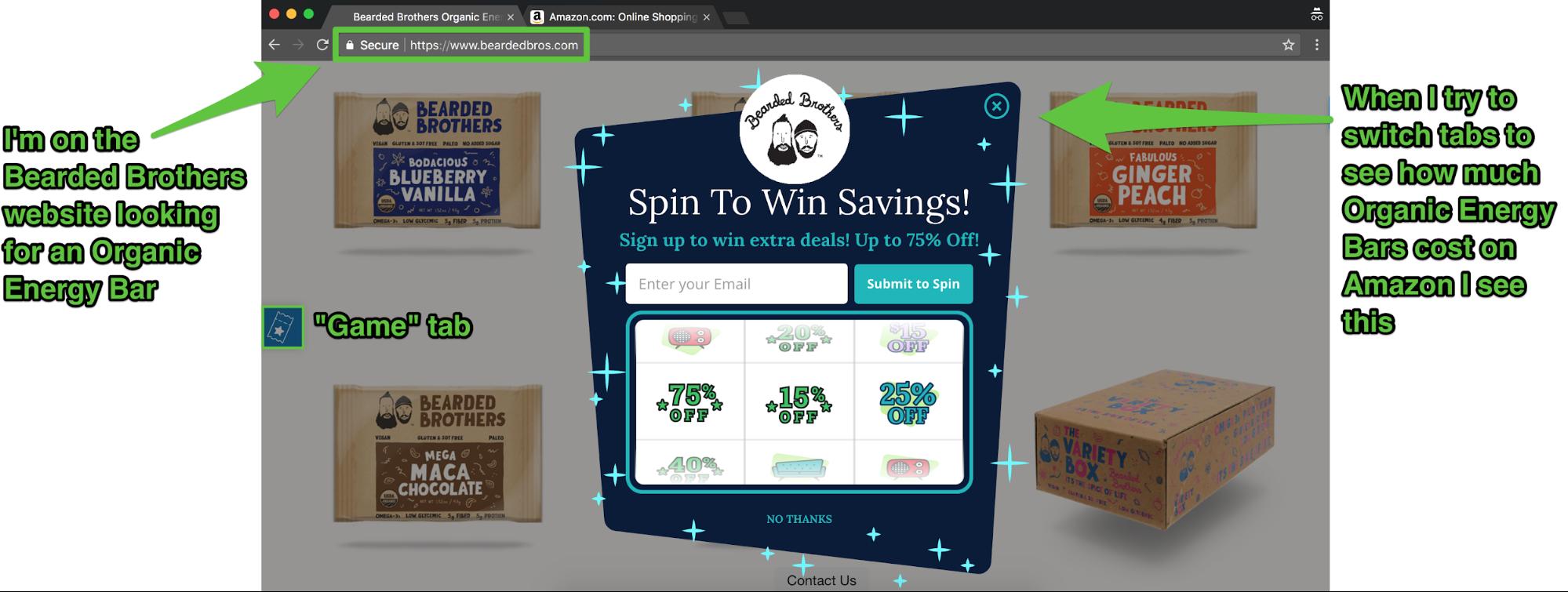 Screenshot showing a Sumo cart casino popup