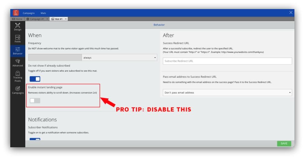 Screenshot of behavioral settings on the Sumo dashboard