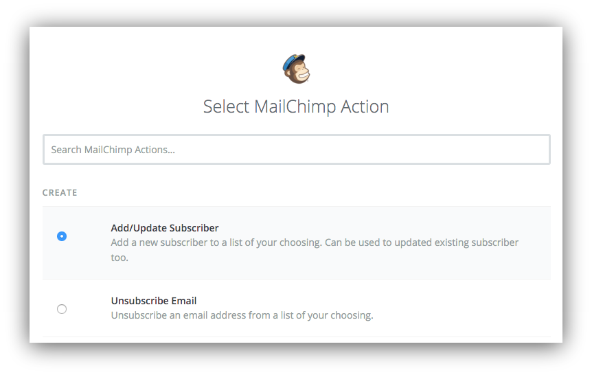 Screenshot showing what actions you can choose on the mailchimp dashboard