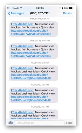 Screenshot of trackreddit in action, sending texts
