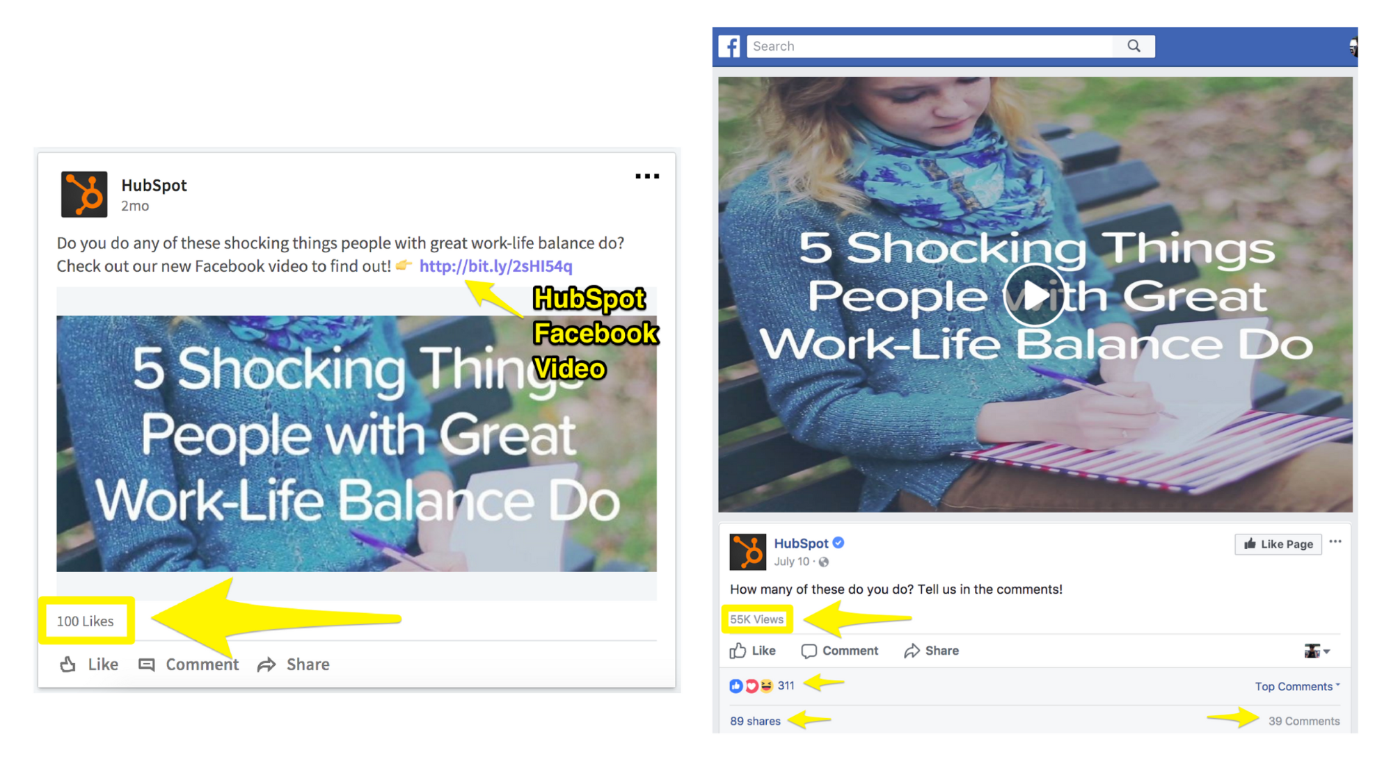 Screenshot showing facebook posts by hubspot