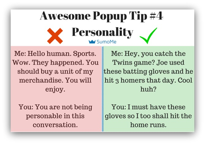 Pop-up tip have some personality