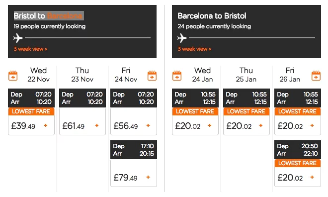 Screenshot showing flight fare search
