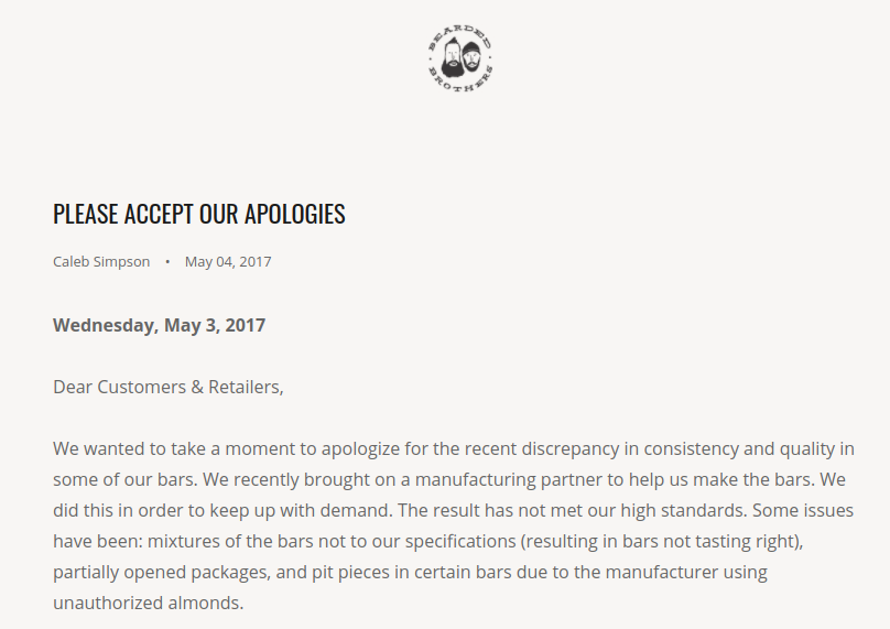Screenshot showing an apology letter