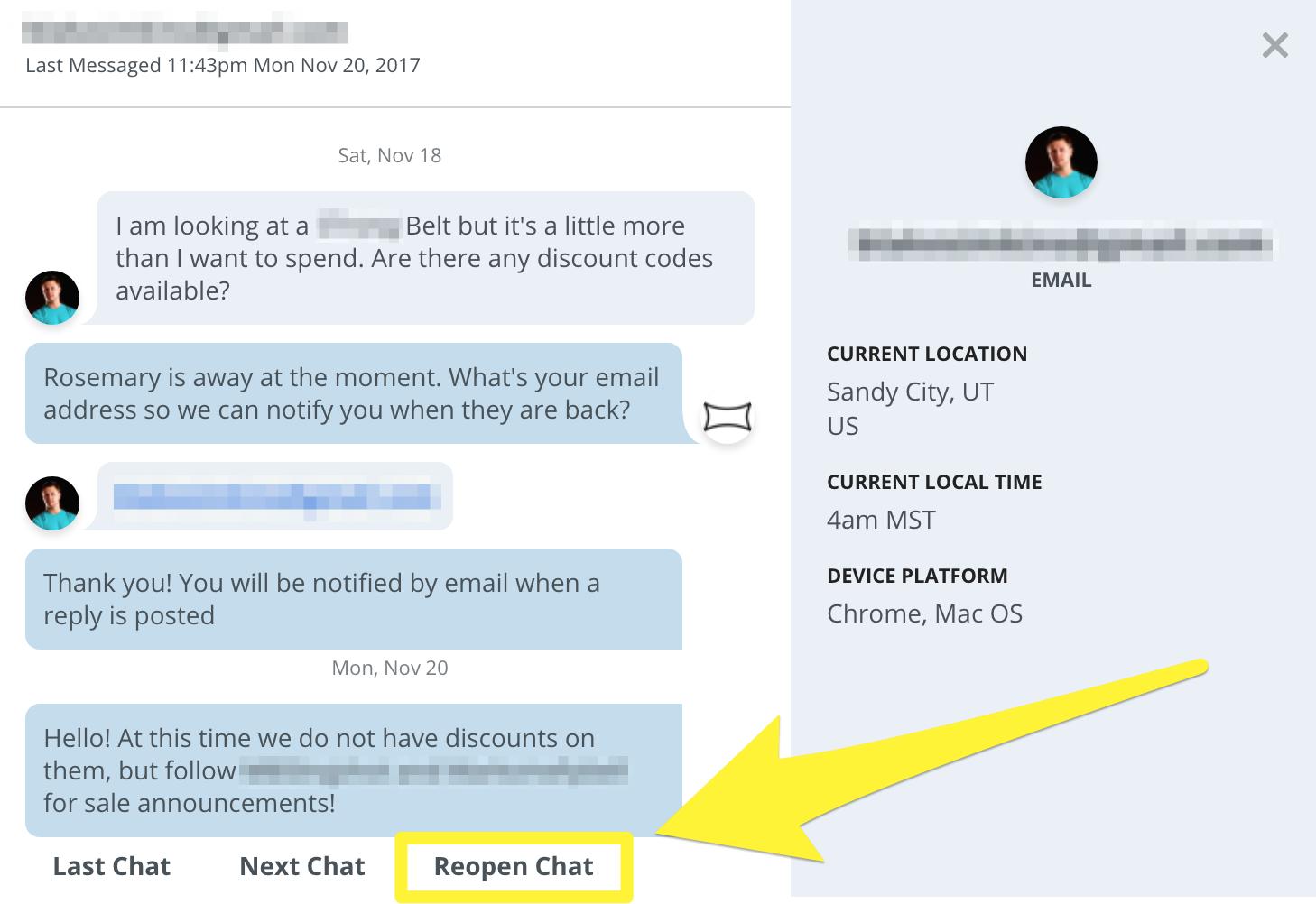 Screenshot showing a chatbot conversation