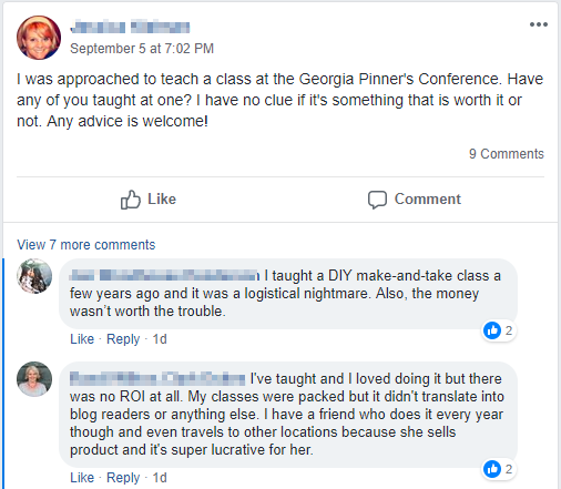Screenshot showing a Facebook post and replies