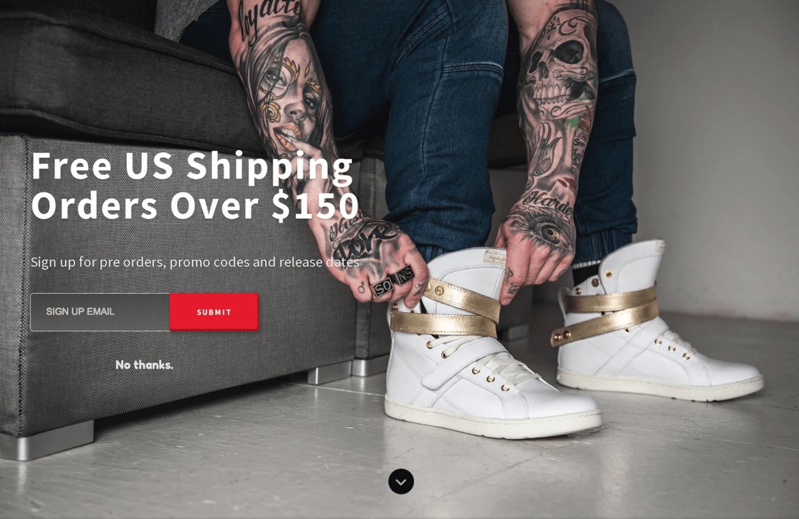 Screenshot showing a free shipping welcome mat