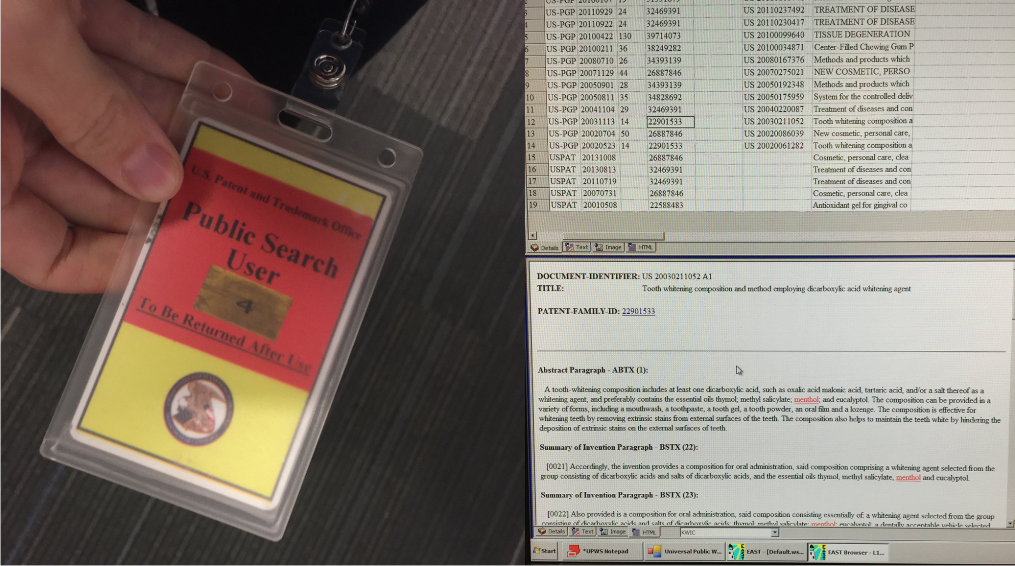 Picture showing a name tag and spreadsheets/emails on the right