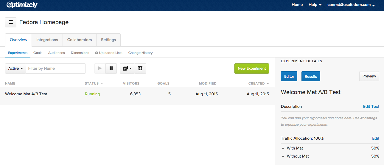 Screenshot showing a page on optimizely