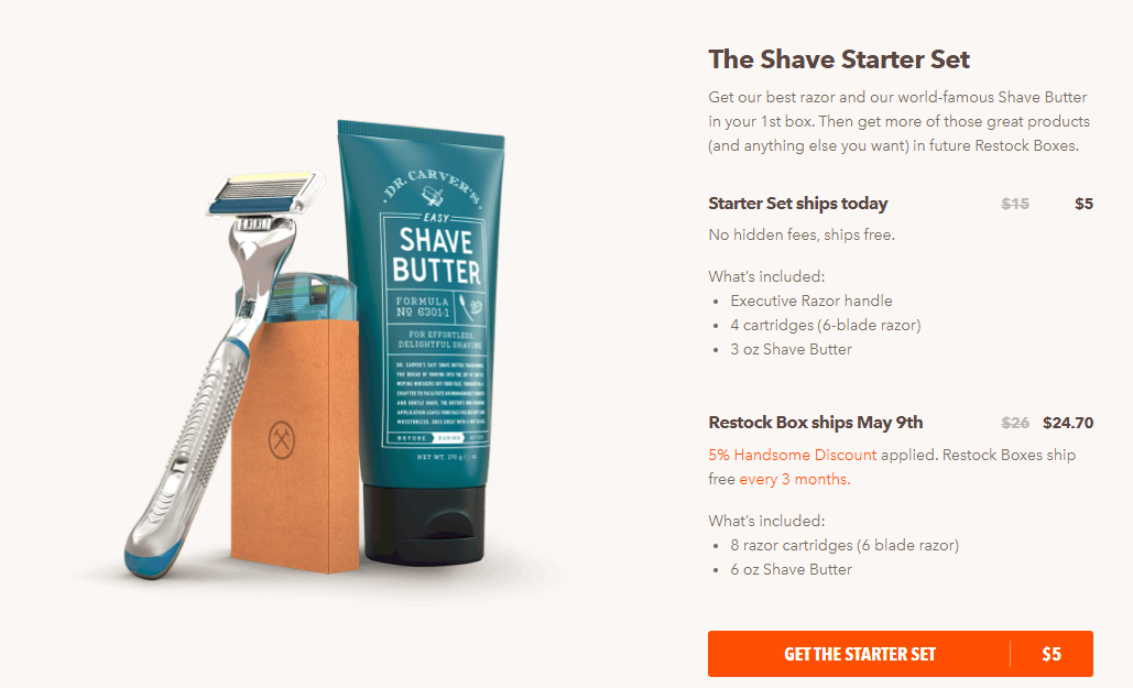 Screenshot showing a product on the dollar shave club