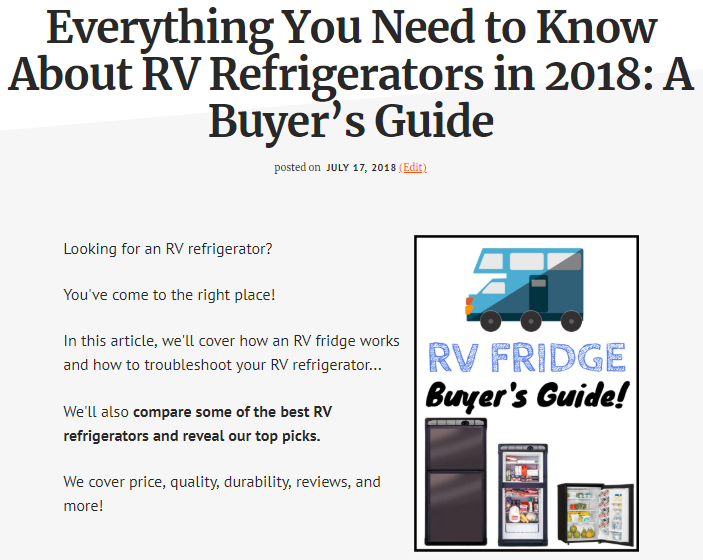 Screenshot showing a content about RV refrigerators