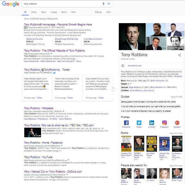 Screenshot of a google search on Tony Robbins