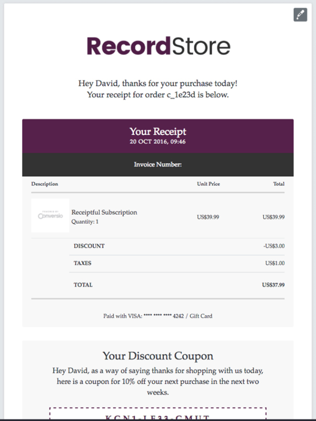 Screenshot showing an order confirmation page with a receipt and a future promo code