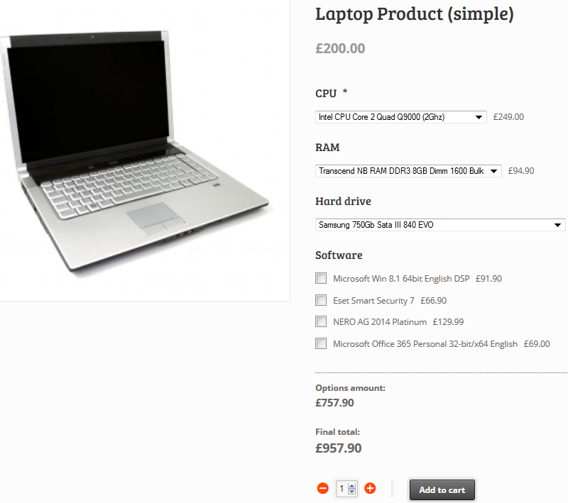 Screenshot showing a product page